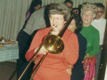 "Adair and her ""other"" instrument – the trombone."